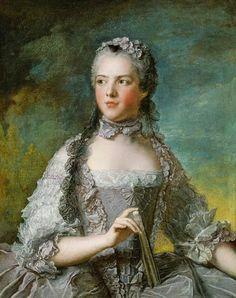 """Marie Adélaïde de France, dite « Madame Adélaïde », puis à partir de 1752, """"Madame"""", quatrième fille et sixième enfant de Louis XV et de Marie Leszczyńska, est née le 23 mars 1732 à Versailles, baptisée1 à Versailles le 27 avril 1737, et morte le 27 février 1800 à Trieste ; Nattier,1748."""