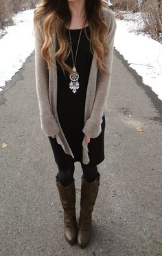 Fall Outfit With Long Boots,Plain Cardigan and Necklace