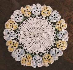 Vintage Cotton Crocheted Doily Pansy Design Item 2 75'' by rayela