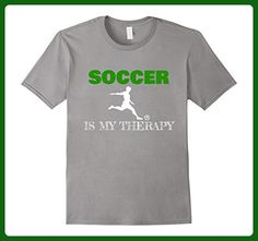 Mens Soccer Is My Thearapy Funny Shirt Gift XL Slate - Sports shirts (*Amazon Partner-Link)