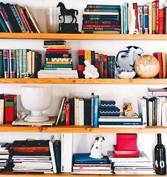 Domino Magazine, Lili Diallo - practical yet artistic bookshelf. love the use of the fornasetti plate.