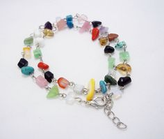 Gemstone necklace colorful simple necklace by UkrainianBeadJewelry