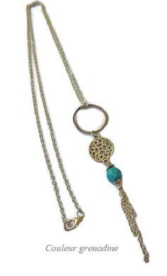 Collier sautoir mandala turquoise : Collier par couleur-grenadine33