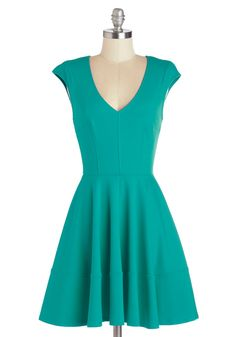 Curtsy for Yourself Dress in Teal. Zipping into this blue frock always results in countless compliments from fellow fashionistas. #green #modcloth