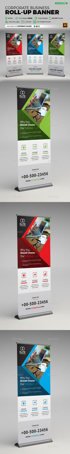 Corporate Business Roll-up Banner Template Vector EPS, AI Illustrator