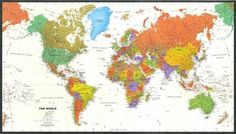 Contemporary World Map - Tyvek Paper, 2015 Amazon Top Rated Social Studies Materials #OfficeProduct