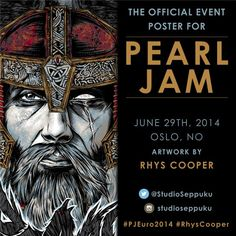 The poster for tonight's Telenor Arena show in Oslo, Norway. Artwork by Studio Seppuku. #PJEuro2014 #RhysCooper