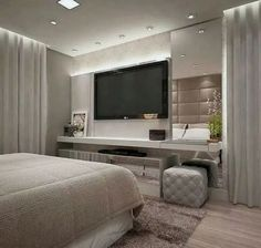 56 cool and fun bedroom tv wall design ideas 1 Bedroom Tv Wall, Home Decor Bedroom, Modern Bedroom, Bedroom Ideas, Luxury Bedroom Design, Master Bedroom Design, Home Interior Design, Mansion Interior, Interior Sketch