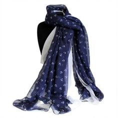 Scarves Wholesale Mini Ancors - Extra Large Scarves Wholesale Hip Angels Neat and Nautical Scarves are very comfortable to wear in any time of the year.  Sold in packs of six in assorted colour selections, helping you to make an attractive display in your store/website.  #Scarves_Wholesale #Wholesale_Scarves #Nautical_Scarves #Scarves_Nautical
