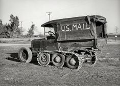 """November """"U. Mail truck used in snowy mountain sections of Nevada County, California. Old Pictures, Old Photos, Vintage Photos, Vintage Trucks, Old Trucks, Antique Trucks, Lifted Trucks, Antique Cars, Automobile"""