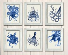 Set of 6 Octopus Print Blue on White - Nautical Print Art Digital Illustration Drawing Poster Digital Print Wall Art Wall Décor Wall Hanging on Etsy, $75.00