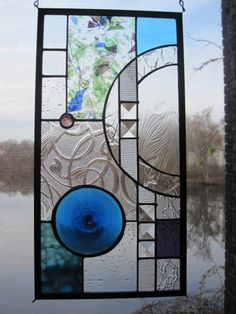 Stained Glass Hanging Rondel Geometric Panel by RenaissanceGlass, $165.00