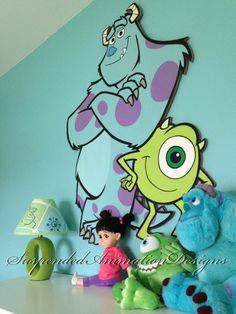 Monsters Inc Mike and Sully painted wall plaque Casa Disney, Disney Rooms, Disney Nursery, Disney Cars, Nursery Themes, Room Themes, Nursery Ideas, Room Ideas, Baby Boy Rooms