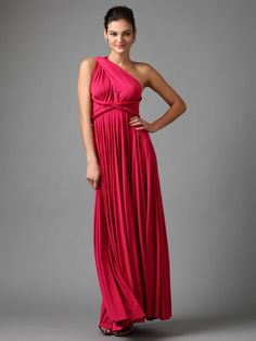 twobirds Bridesmaid Knit Jersey Infinity Gown: Pleating at bust, empire waist, raw edges throughout, tonal top stitching, panel seaming  Please note, this gown can be styled multiple ways