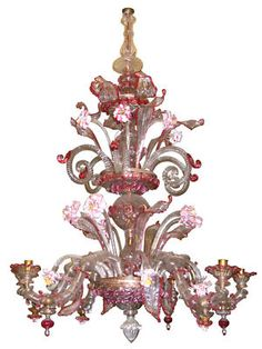 Antique Venetian Glass Chandelier Circa 1860s