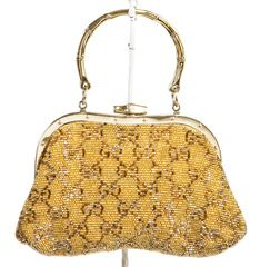 Gucci Gold Multicolor Beaded Evening Handbag