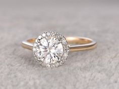 1ct brilliant Moissanite Engagement ring Two Tone Plain by popRing