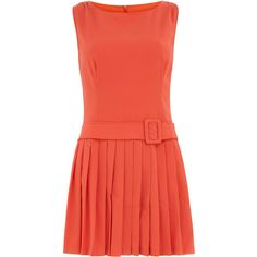 Coral dress with belt ($27) ❤ liked on Polyvore
