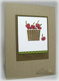 Bowl of Cherries -   Created using the cupcake punch and woodgrain background stamp from stampin up.