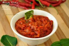 Give Thanks: Balado - Indonesian Chili Sambal (sauce) Spicy Recipes, Veggie Recipes, Asian Recipes, Cooking Recipes, Ethnic Recipes, Veggie Food, Free Recipes, Cooking Tips, Sambal Sauce