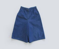 vintage 70s high waisted denim culotte shorts | size xs - s