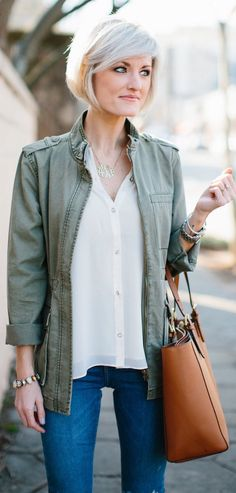 Green Jacket / White Silk Shirt / Camel Leather Tote Bag