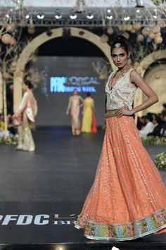 Peach lengha by Sania Maskatiya at PFDC L'Oreal Bridal Fashion Week 2013 bridal lehenga