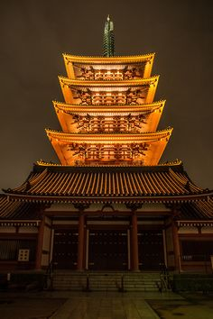 Five-story pagoda at Senso-ji temple in Asakusa, Japan.  Photography by Takashi Hososhima on Flickr