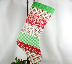 another simple patchwork stocking on etsy