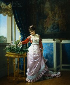 Watering Flowers by Auguste Toulmouche