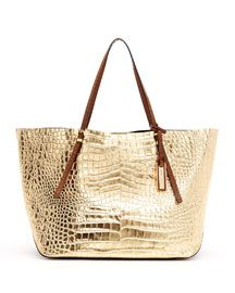 Croc + Metalic, I die!    Michael Kors Gia Metallic Crocodile-Embossed Leather Tote