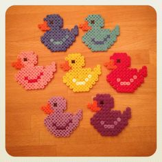 Colorful ducks hama beads by tutluva