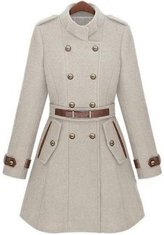 ++ Beige Belt Buttons Cotton Blend Wool Coat