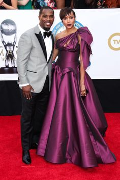 Newly weds, Letoya Luckett looks gorgeous in NF by Nour with husband Mr. Walker at the NAACP Image Awards at Pasadena Civic Auditorium on January 2018 in Pasadena, California