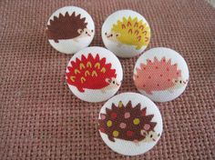 7/8 inch fabric covered buttons  Happy Hedgehog by SewingRabbit, $5.00