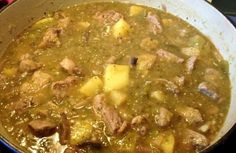 Green Chili Potato Stew: 3 tablespoons vegetable oil 1 1/2 pounds beef sirloin or pork butt, cut in 1-inch cubes 1 1/2 cups diced onion 1 tablespoon minced garlic 6 cups chicken or beef broth 1 pound red or white potatoes, cut in 1/2 to 3/4-inch cubes 2 to 3 teaspoons salt, to taste 3 cups roasted, peeled, chopped Pueblo green chiles