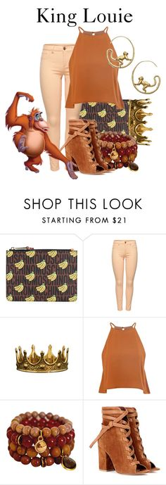"""""""King Louie"""" by disneyandsuch ❤ liked on Polyvore featuring Moschino, ZENTS, Glamorous, Gianvito Rossi, King Louie, Tory Burch, disney, thejunglebook and WhereIsMySuperSuit"""