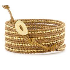 Chan Luu - Gold Vermeil Wrap Bracelet on Henna Leather, $220.00 (http://www.chanluu.com/gold-vermeil-wrap-bracelet-on-henna-leather/)