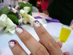 Purple and white bridal mani with flowers :: one1lady.com :: #nail #nails #nailart #manicure