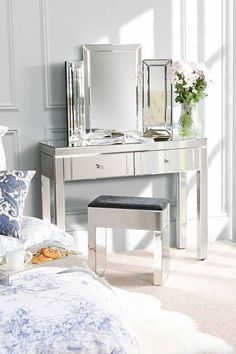 Mirrored Dressing Table Modern Console Desk Vanity Make up Stand Bedroom Drawers for sale online Dressing Table Modern, Bedroom Dressing Table, Dressing Table Design, Dressing Table With Stool, Dressing Mirror, Dressing Tables, Dressing Room, Mirrored Furniture, My Furniture