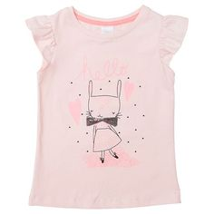 Flutter Sleeve Hello Bunny Print T-Shirt