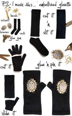 fingerless gloves made out of socks