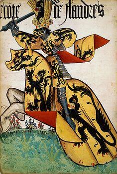 Le comte de Flandre, Grand Armorial équestre de la Toison d'Or, Flandres, 1430-1461.