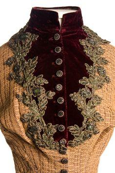 1884 extant bodice. Beautiful contrast w/ the burgundy velvet.