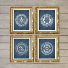 Navy Blue Wall Art set of 4 abstract printable decorative wall art decor patterns in