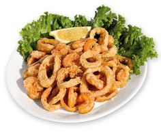 GRAN FRITTO MISTO  Solamente Gamberi e Totani accuratamente selezionati, dorati in olio d'arachide.