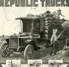 """""""1918 Republic Motor Truck    I was impressed at the detail in the Republic ad thst ran the June 15, 1918 Country Gentleman. This was the only truck ad in that wartime issue.  Republic trucks were manufactured in Alma, Michigan."""""""