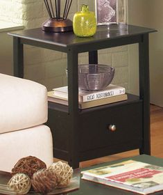 Black End Table With Drawer U0026 Shelf Home Furniture Accent Side Table Black