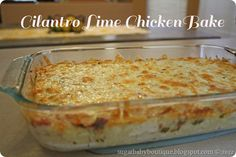 cilantro lime chicken bake. Suggested to sub out reg fresh salsa for mango salsa...