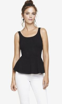 ZIP BACK PEPLUM TANK from EXPRESS- garnet